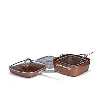 "Copper Chef 9.5"" Square Pan & 9.5"" Frying Pan with Fry Basket & Steaming Rack - 806655"