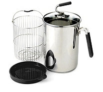 """As Is"" Kuhn Rikon Stainless Steel 1.5L Multi Pot with Basket, Lid - 804660"