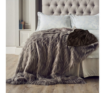 Alison Cork Luxury Tipped Faux Fur Throw - 805378