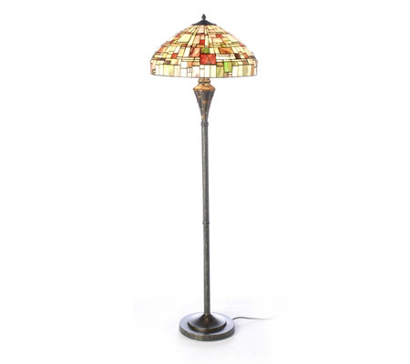 Tiffany style handcrafted deco tiles floor lamp qvc uk for Tiffany floor lamp qvc