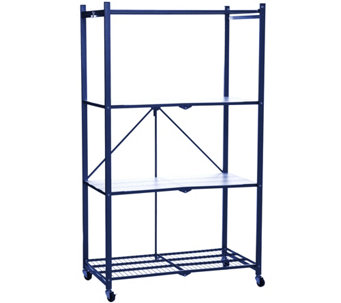 Pop-It 4-Tier Steel Collapsible Storage Shelf w Wheels & Liners - V34400
