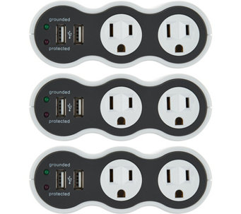 Revolve PowerCurve Mini Set of 3 Surge Protector Outlets w/USB - V34301