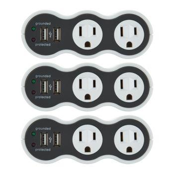 Revolve PowerCurve Mini Set of 3 Surge Protector Outlets w/USB