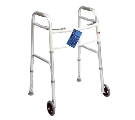 "Carex Folding Walker with 5"" Fixed Wheels and Rear Glides"