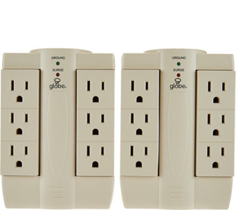 Set of 2 6-Outlet Surge Protection Swivel Outlets by Globe - V34204