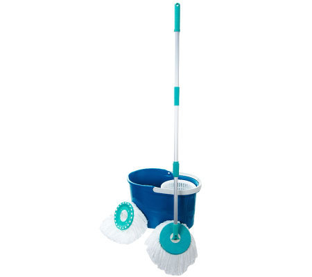 Spin & Go Pro Spin Mop w/ 2 Mop Heads & Spin Dry Bucket