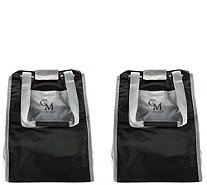 CarryMore Set of 2 Reusable Shopping Totes w/Cart Clips - V33606