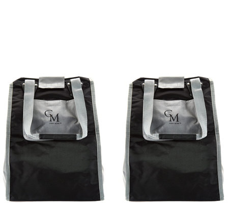 CarryMore Set of 2 Reusable Shopping Totes w/Cart Clips