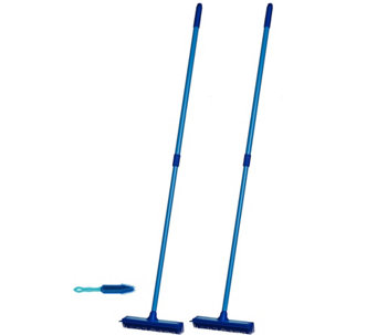 Don Aslett's Set of 3 Multi-purpose Rubber Brooms with Hand Brush - V34207