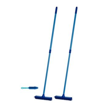 Don Aslett's Set of 3 Multi-purpose Rubber Brooms with Hand Brush