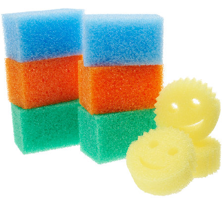 Scrub Daddy Set (6) Colored Jumbo Blocks With (3) Bonus Yellow Sponges