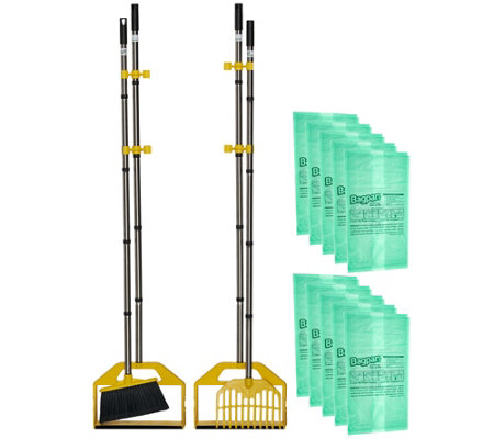 S/2 BagPan Indoor/Outdoor Cleanup Tool w/ Broom & Rake Combo Kit
