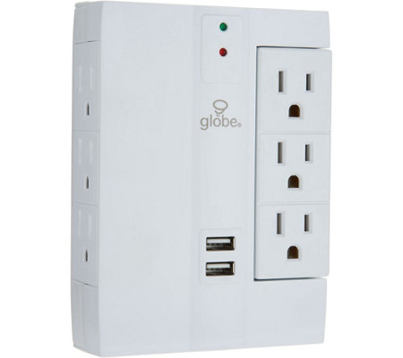 Set of 2 Swivel Surge Protector with USB Ports by Globe Electric