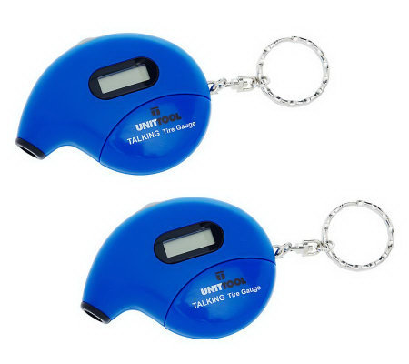 Set of 2 Digital Talking Tire Gauge Keychains with Auto Shut-Off