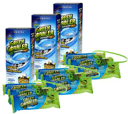 Green Gobbler Supersized Set of 9 Pacs Drain Cleaner w3 Drain