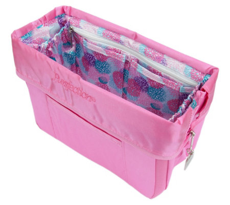 Pursfection Portable Purse Organizer w/ 12 Pockets & Zipper Close
