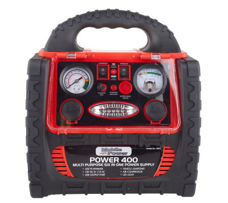 MobilePower 400 Watt Power Station w USB Port &260 PSI Compressor