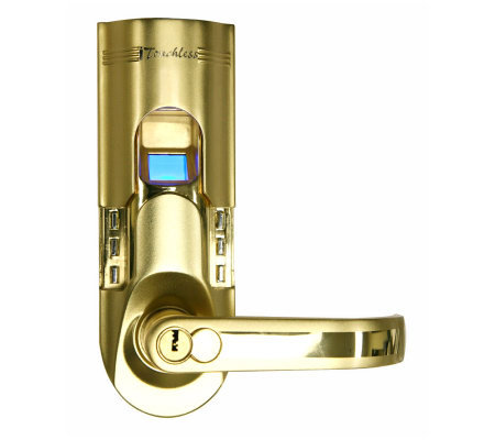 Bio-Matic Fingerprint Door Lock - Goldtone Left