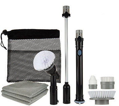 8 Pc Cordless Indoor/Outdoor Power Scrubber, Extension Tool & Accessories - V33924
