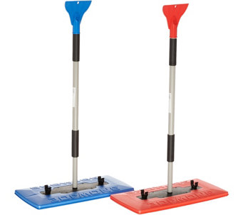 Snow Joe Set of 2 Oversized Snow Brooms w/ Ice Scrapers - V34924