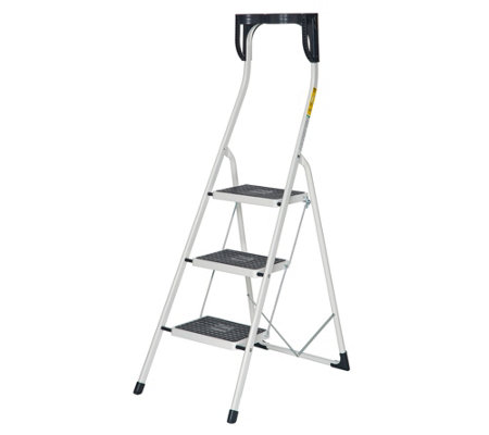 Hailo 3-Step Ladder W/ Safety Rail And Extra Wide Steps