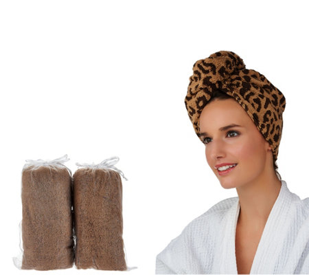 Set of 3 Animal Print 100% Cotton Turbie Twist Hair Towels