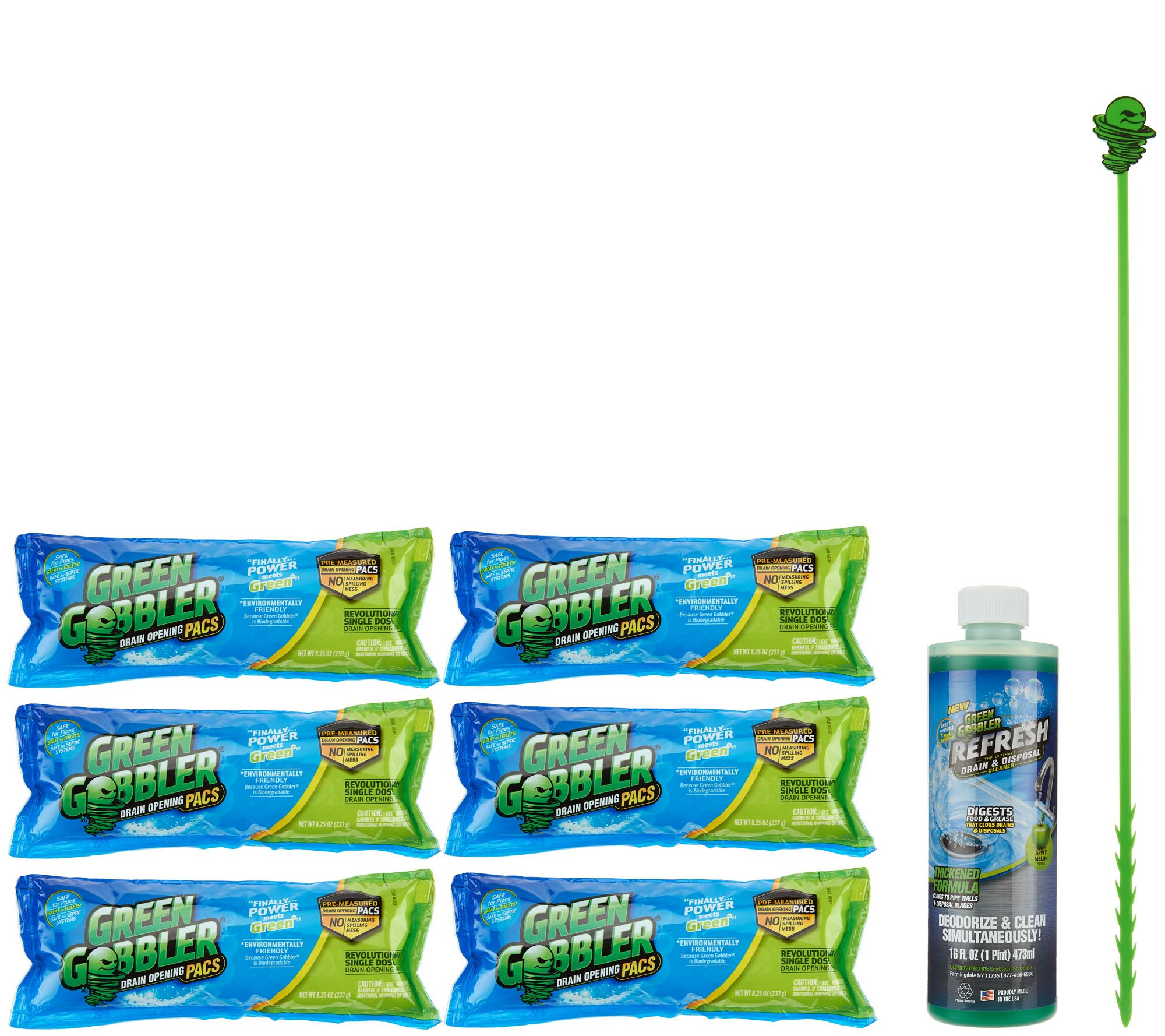 Green Gobbler Set6 Drain Cleaner Packets 16oz Refresh Drain