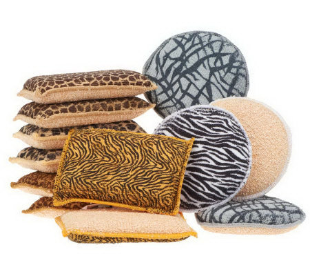 Set of 12 Microfiber Safari Sponges w/Diamond Fiber by Campanelli