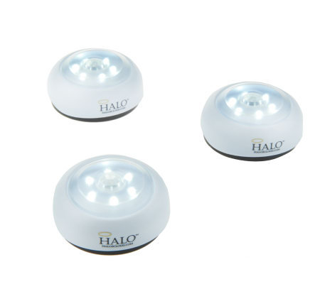 HALO Set of (3) 6 LED Wireless Motion Sensing Puck Lights