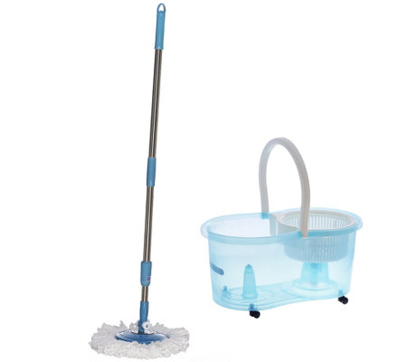 Clean Spin 360 Wet/Dry Microfiber Mop w/Carry Handle & Caster Wheels