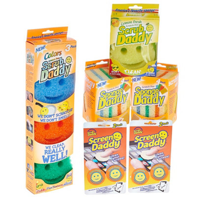 Scrub Daddy Set/12 Assorted Cleaning Sponge w/ Set of 4 Screen Daddy
