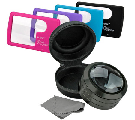5X Magnifier Glass with Light and set of 4 Pocket Magnifiers