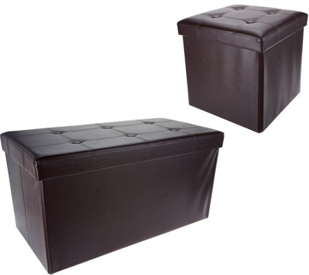 Swell Qvc Ottoman Bench Fhe Faux Leather Folding Ottoman Set Or Alphanode Cool Chair Designs And Ideas Alphanodeonline