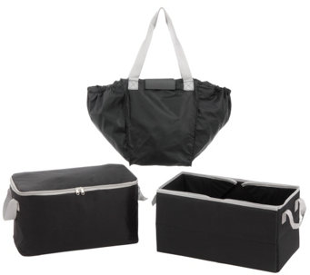 Secure Auto 3 Piece Trunk Organizer with 2-in-1 Shopping Tote - V33259