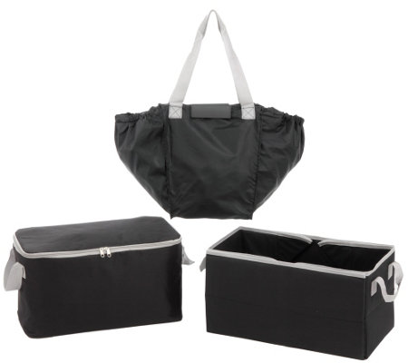 Secure Auto 3 Piece Trunk Organizer with 2-in-1 Shopping Tote