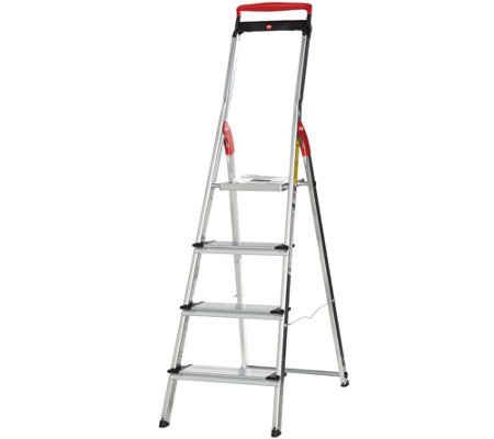 Hailo 4-step Lightweight Ladder with Safety Rail