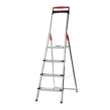 Hailo 4-step Lightweight Ladder with Safety Rail