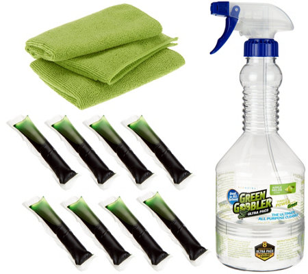Green Gobbler 8 Ultra Pacs Cleaning Concentrate w/ Bottle & Cloths
