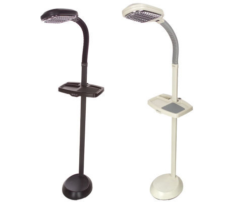 verilux happy eyes natural light floor lamp with utility tray qvc. Black Bedroom Furniture Sets. Home Design Ideas