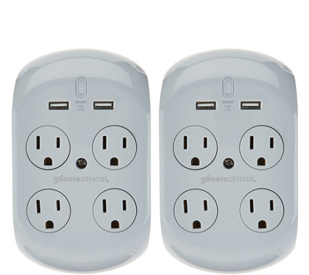 Revolve 2.4 Set of 2 Surge Protectors w/ 4 Outlets & 2 USB Ports