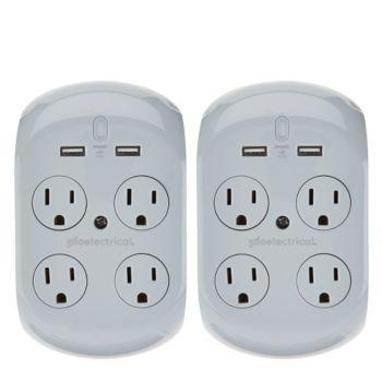 Revolve 2.4 Set of 2 Surge Protectors w/ 4 Outlets & 2 USB Ports