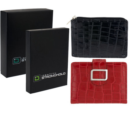 ID Stronghold Set of 2 Croco Leather Mini Wallets w/ RFID Protection
