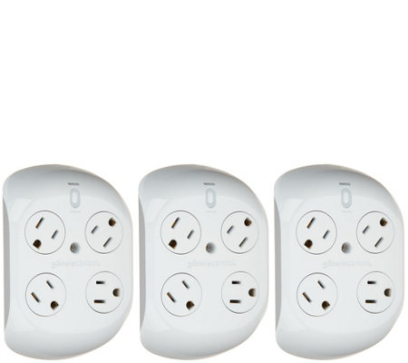 Revolve Set of 3 Surge Protectors with 4 Outlets
