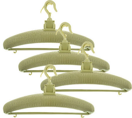 Set of 4 Hang N Dry Adjustable Mesh Covered Drying Hangers