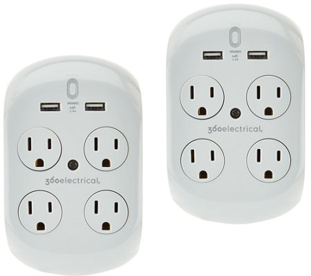 Revolve 2.4 Set of 2 Surge Protectors w/4 Outlets & 2 USB Ports