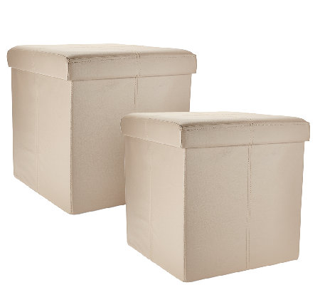 "Set of 2 Faux Leather 15"" Foldable Storage Ottomans"