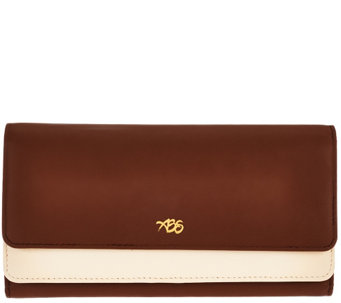 Always Be Secure RFID Two-Tone Smooth Leather Clutch - V33573