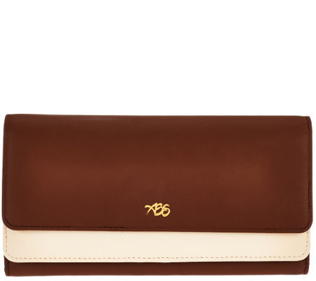 Always Be Secure RFID Two-Tone Smooth Leather Clutch