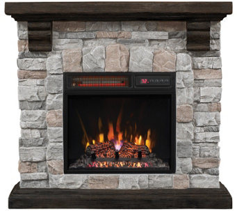 Duraflame Infrared Quartz Stone Mantel Heater with Flame Effect - V34377