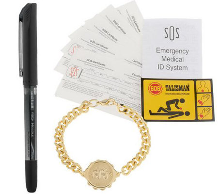 SOS Emergency Goldtone Medical ID Bracelet
